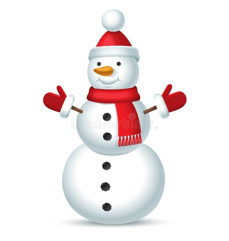 Muñeco de nieve de la Navidad con el sombrero rojo con un bubón, una bufanda y manoplas aislados en el fondo blanco ilustración del vector