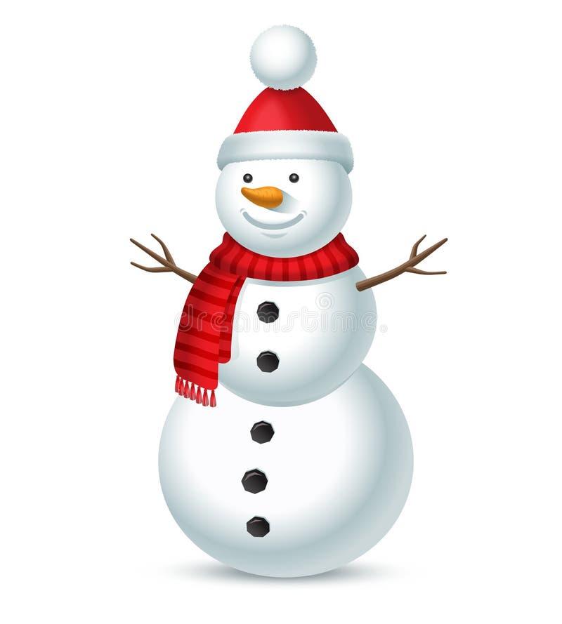 Muñeco de nieve de la Navidad en el fondo blanco stock de ilustración