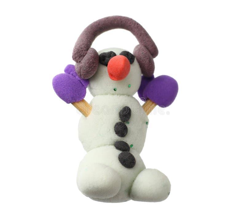 Muñeco de nieve de la plastilina aislado en el fondo blanco Modelado de la arcilla fotos de archivo libres de regalías
