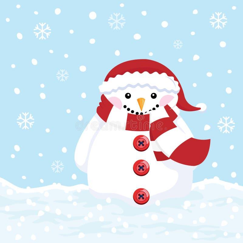 Muñeco de nieve lindo ilustración del vector