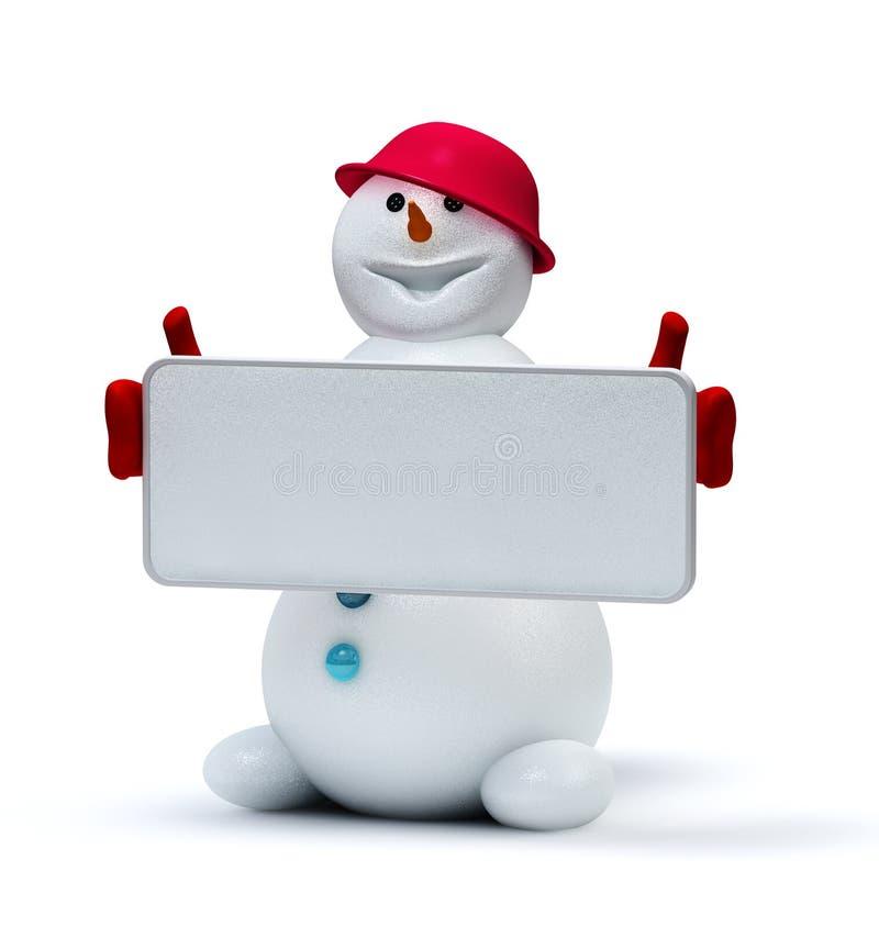 Muñeco De Nieve Lindo Con El Marco Vacío Stock de ilustración ...