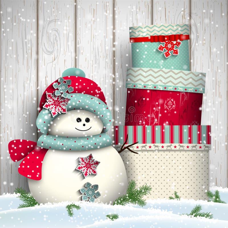 Muñeco de nieve lindo con la pila de presentes coloridos grandes stock de ilustración