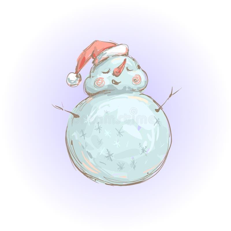 Muñeco de nieve lindo en el ejemplo sonriente del vector del sombrero de Papá Noel por Año Nuevo y la Navidad ilustración del vector