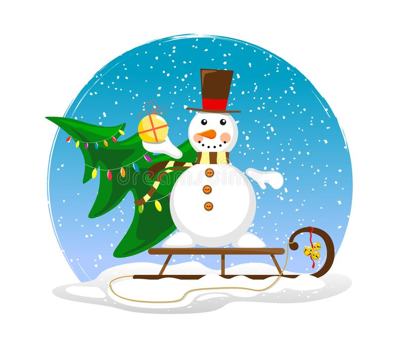 Muñeco de nieve lindo en un trineo con un árbol de navidad adornado y un regalo en su mano Ejemplo del día de fiesta con un muñec libre illustration