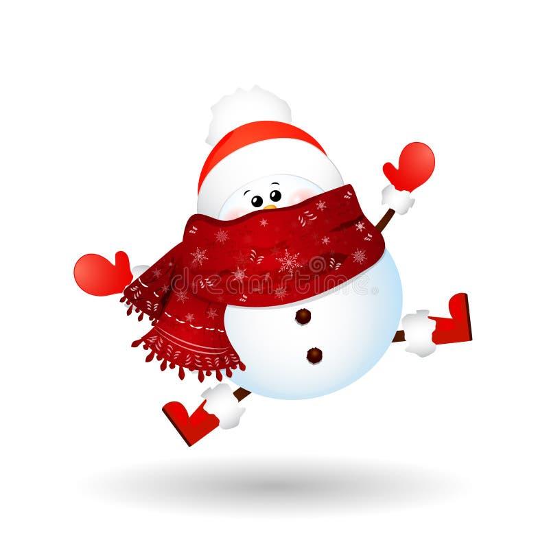 Muñeco de nieve lindo de la Navidad con el sombrero de la bufanda y de Papá Noel del rojo, sintiendo excitado aislado en el fondo stock de ilustración