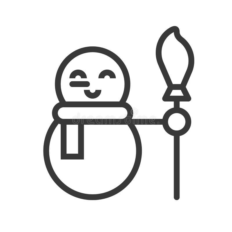 Muñeco de nieve lindo, sistema del icono de la Feliz Navidad, diseño del esquema editable stock de ilustración