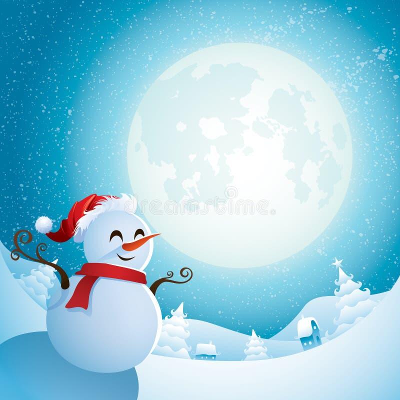 Muñeco de nieve - noche de la Navidad stock de ilustración