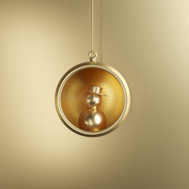 Muñeco de nieve de oro en el ornamento de oro de la Navidad del vidrio del mercurio en fondo de oro ilustración del vector