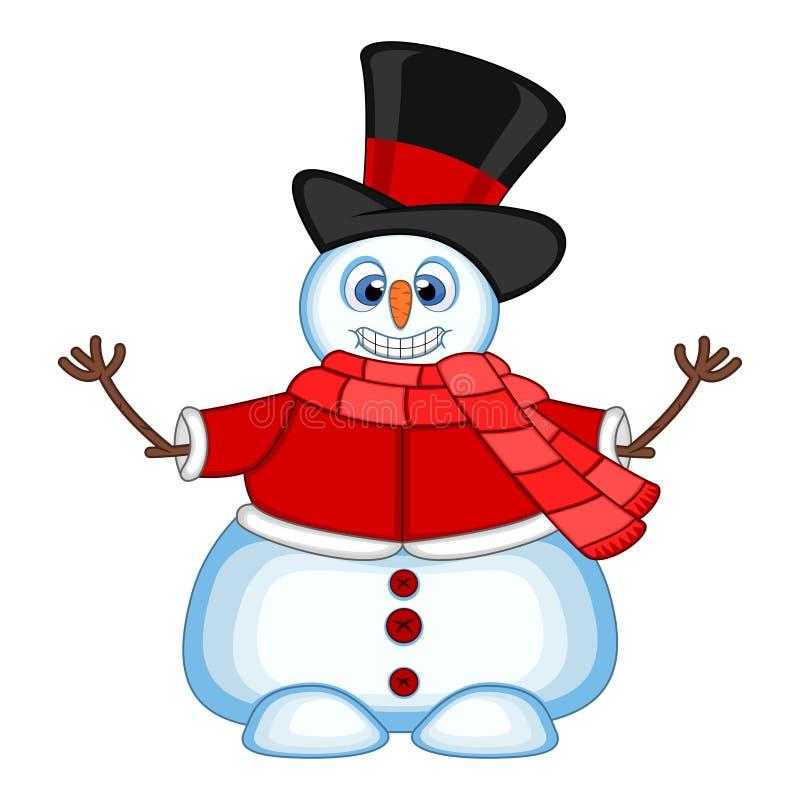 Muñeco de nieve que lleva un sombrero, un suéter rojo y una bufanda roja agitando su mano para su ejemplo del vector del diseño ilustración del vector