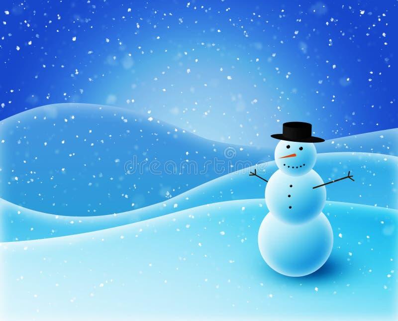 Muñeco de nieve que se sienta en las colinas nevosas ilustración del vector