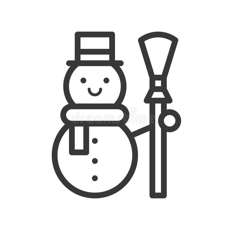 Muñeco de nieve, sistema del tema de la Feliz Navidad, pixe editable del movimiento del esquema stock de ilustración