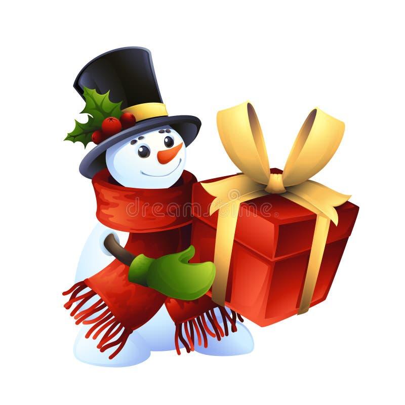 Muñeco de nieve sonriente con el regalo ilustración del vector