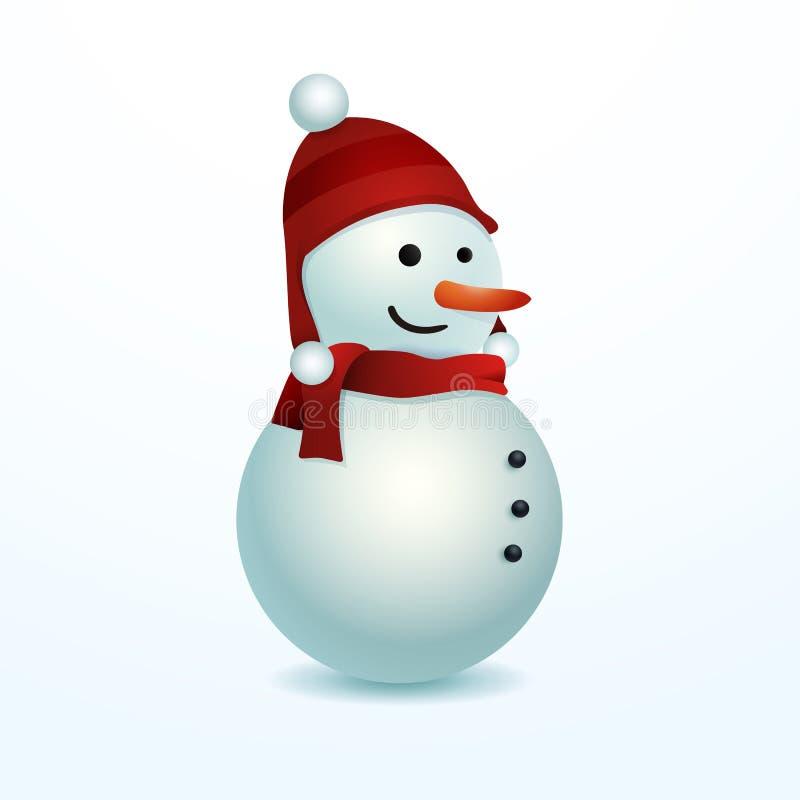 Muñeco de nieve sonriente Ejemplo del vector aislado para el uso fácil en diversas composiciones Diseño de personaje de dibujos a stock de ilustración