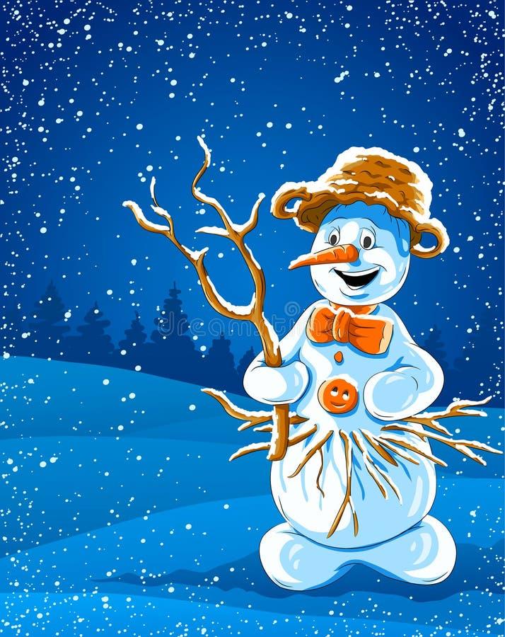Muñeco de nieve sonriente en noche del invierno ilustración del vector