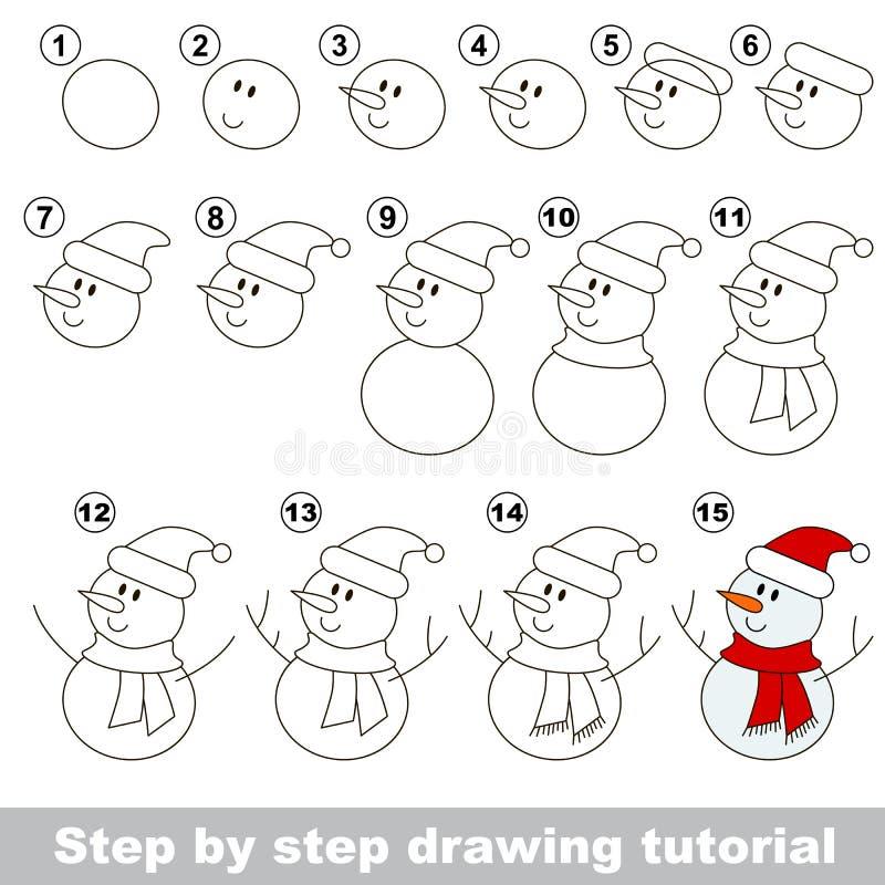 Muñeco de nieve Tutorial del dibujo ilustración del vector