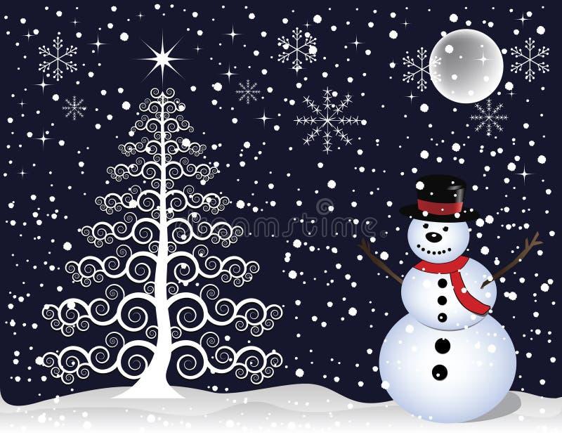Muñeco de nieve y árbol de navidad ilustración del vector
