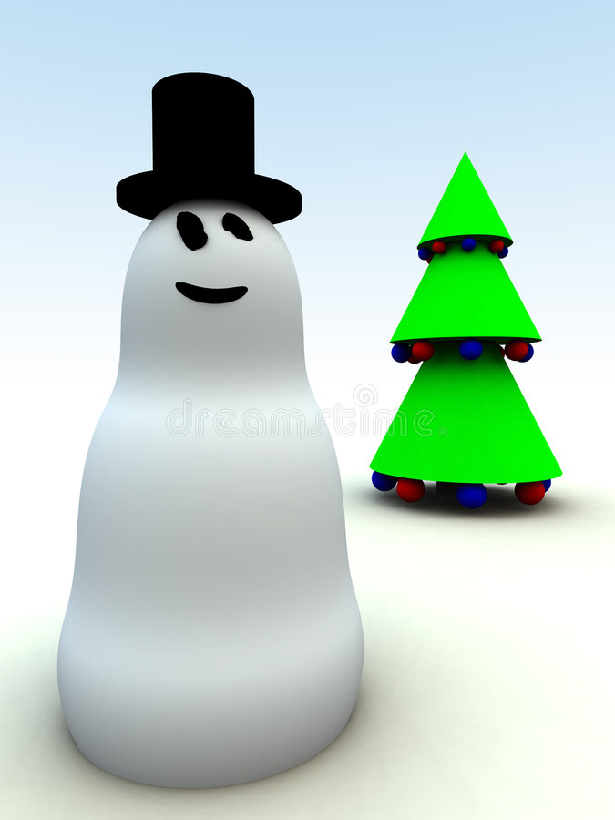 Muñeco de nieve y árboles de navidad 2 stock de ilustración