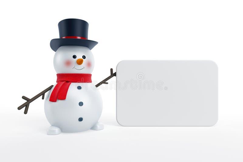 Muñeco de nieve y cartel en blanco stock de ilustración