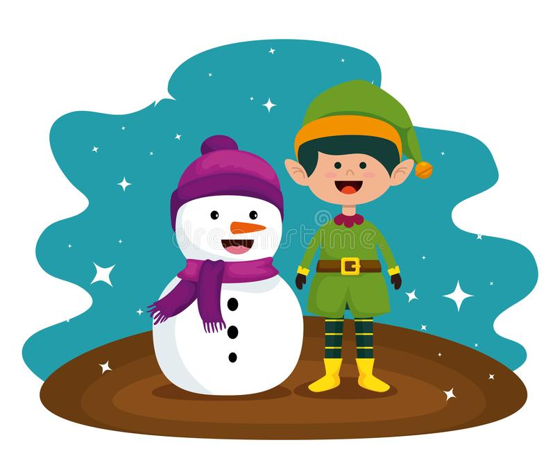 Muñeco de nieve y duende a la celebración de la Feliz Navidad ilustración del vector