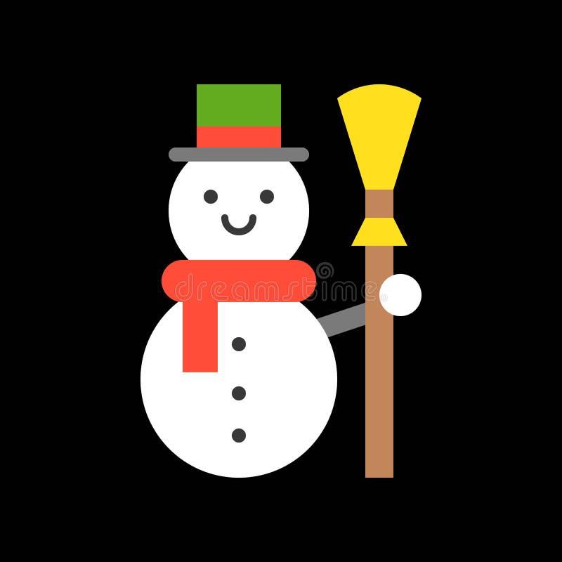 Muñeco de nieve y escoba, sistema del icono de la Feliz Navidad, diseño plano ilustración del vector