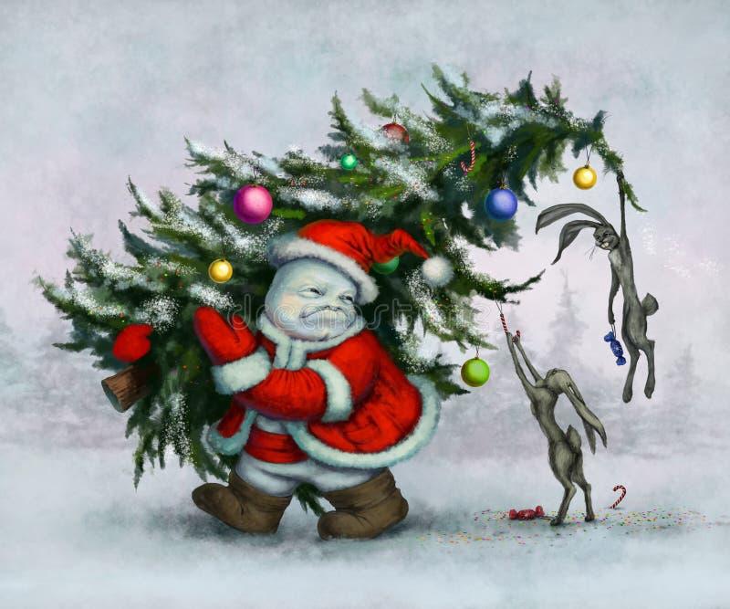 Muñeco de nieve y liebres ilustración del vector