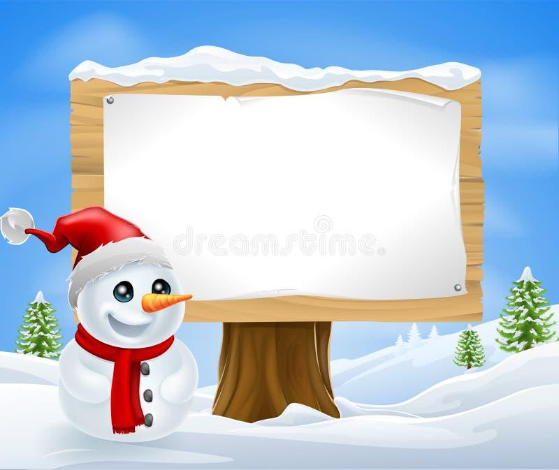 Muñeco de nieve y muestra lindos de la Navidad stock de ilustración