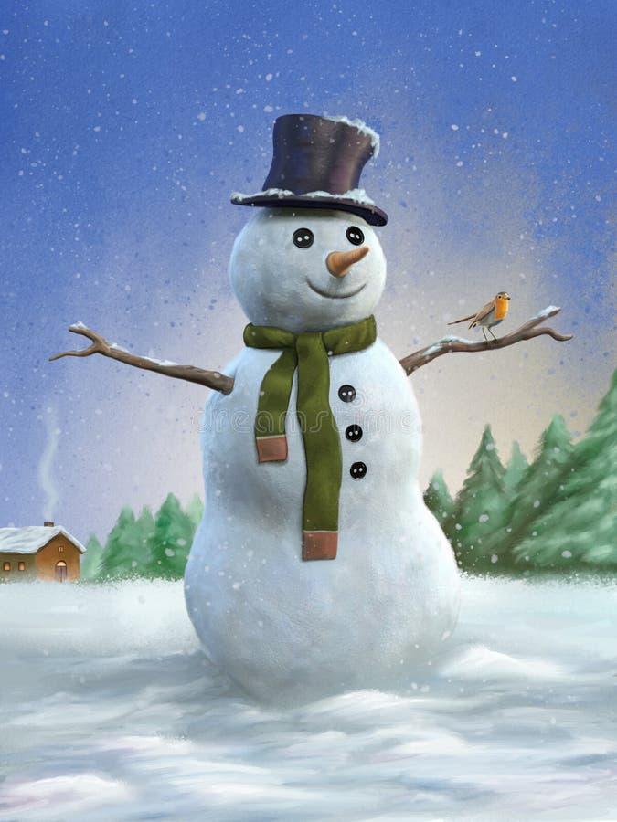 Muñeco de nieve y petirrojo libre illustration