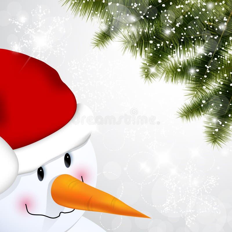 Muñeco de nieve y pino libre illustration