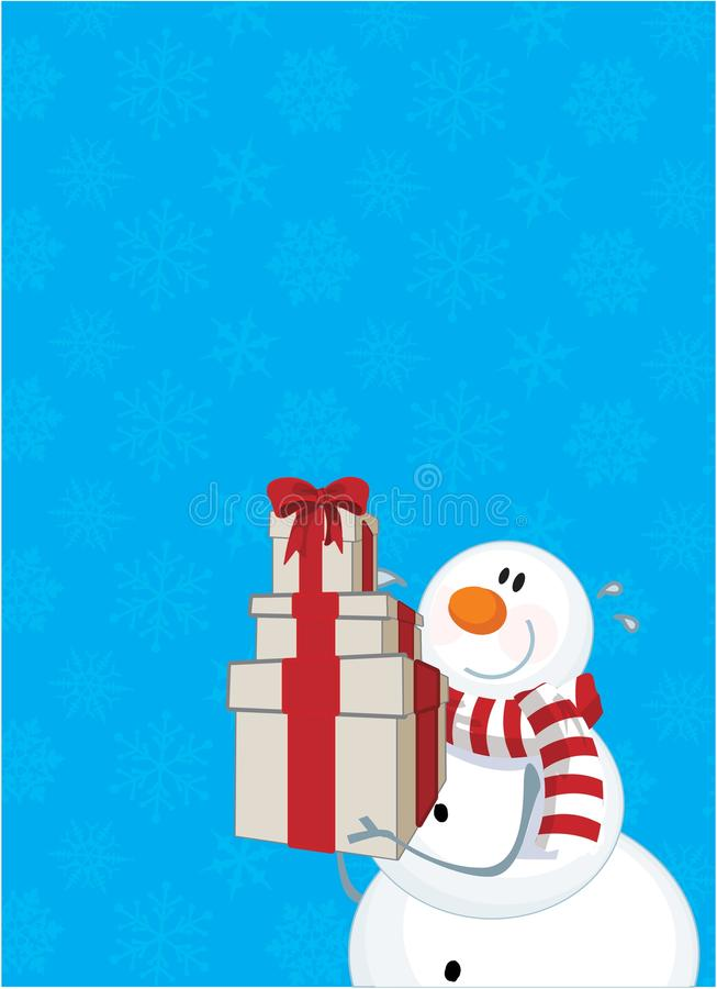 Muñeco de nieve y presente del invierno stock de ilustración