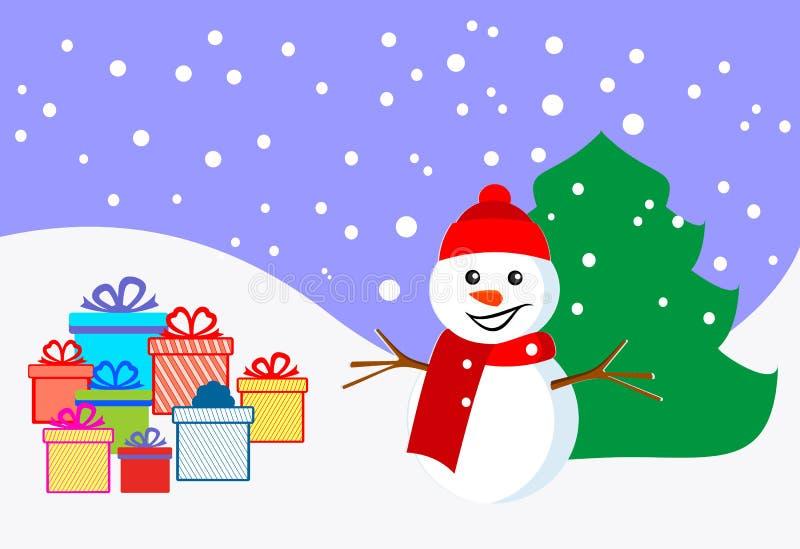 Muñeco de nieve y regalos Año Nuevo y la Navidad Feliz Navidad Ilustración común del vector stock de ilustración