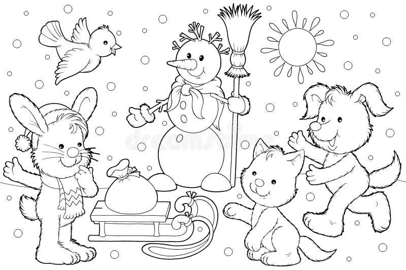 Muñeco de nieve y sus amigos stock de ilustración