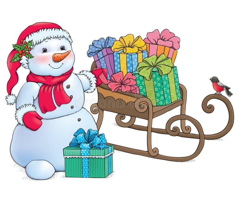 Muñeco de nieve y trineo con los regalos libre illustration