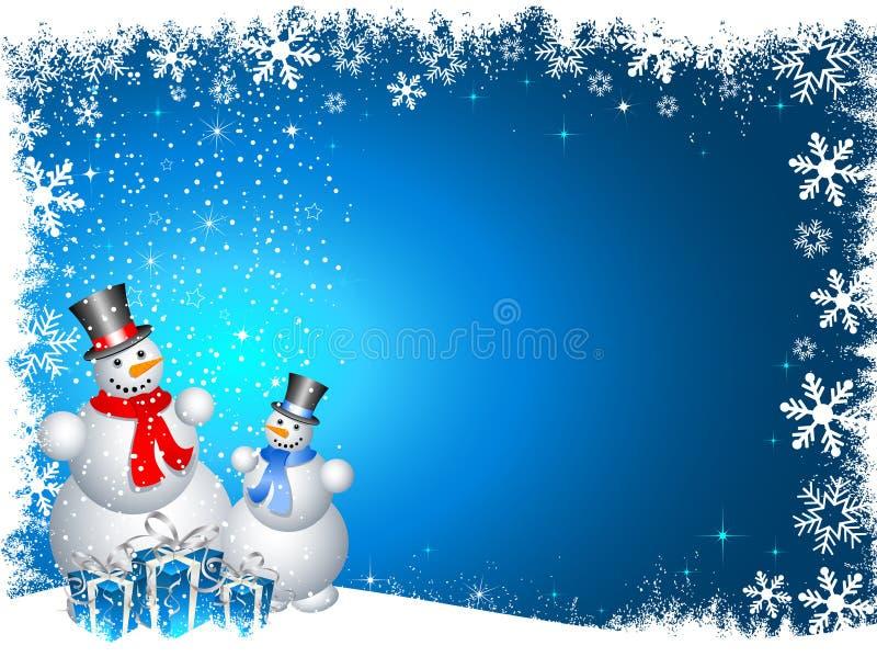 Muñecos de nieve con los regalos de la Navidad stock de ilustración