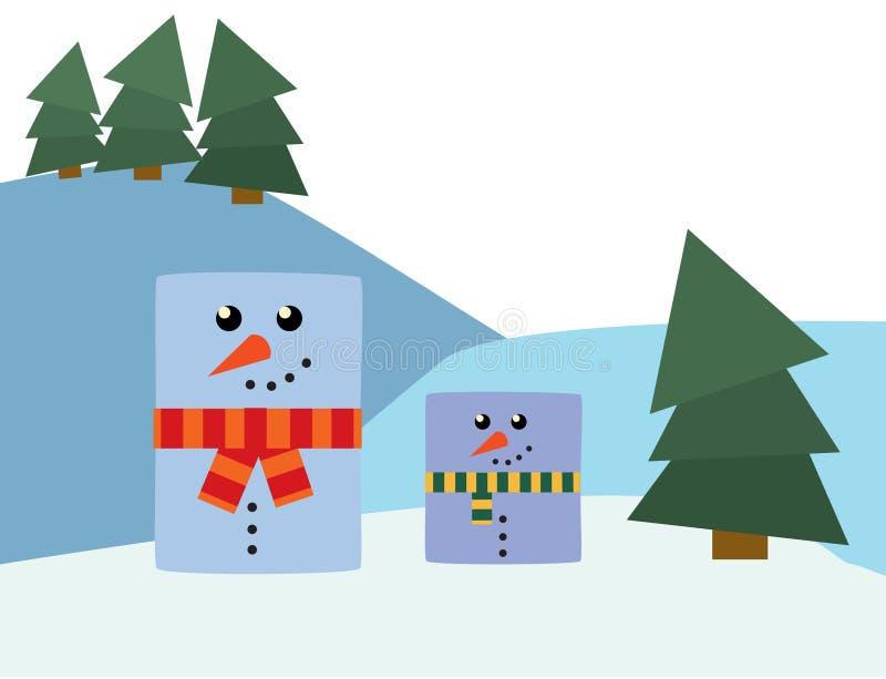Muñecos de nieve del rectángulo fotografía de archivo libre de regalías