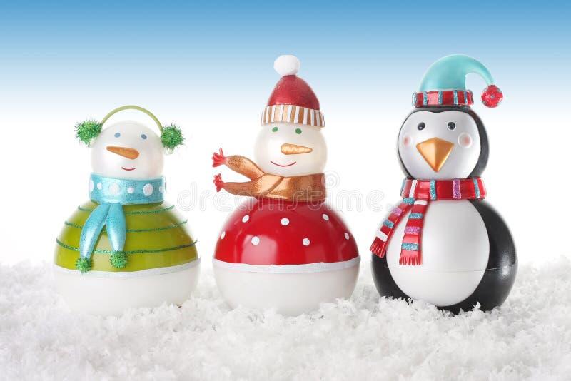 Muñecos de nieve felices fotos de archivo libres de regalías