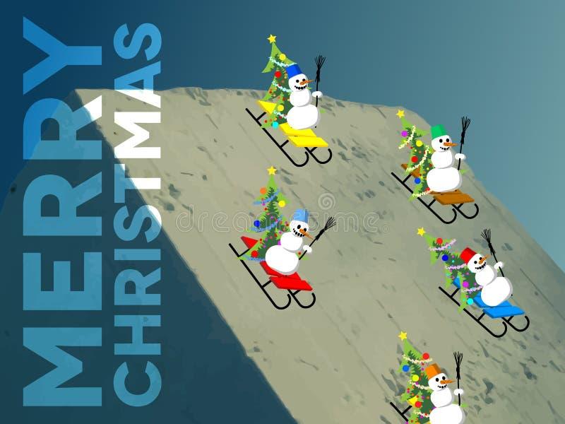 Muñecos de nieve que patinan abajo de la colina stock de ilustración
