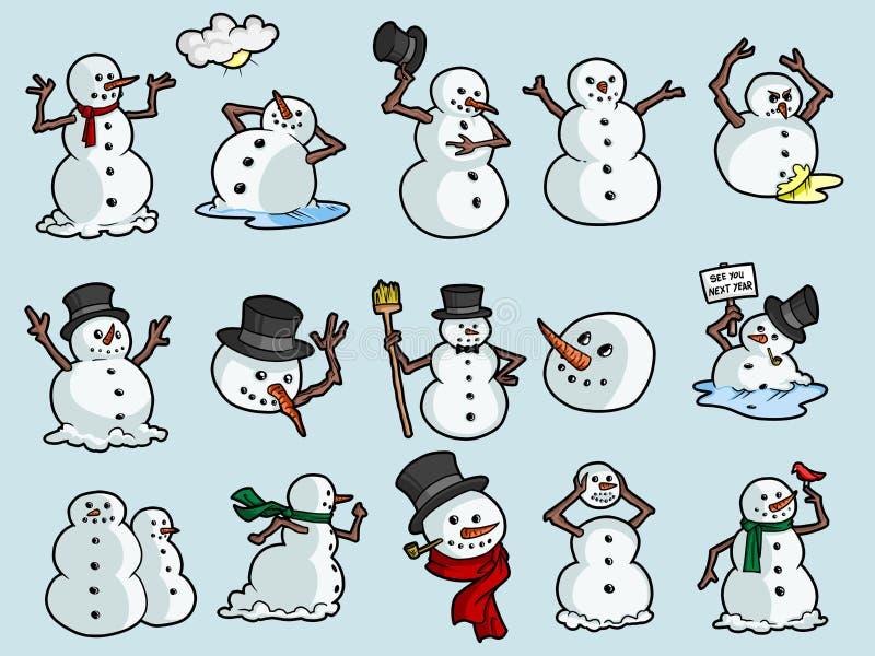 Muñecos de nieve rápidos ilustración del vector