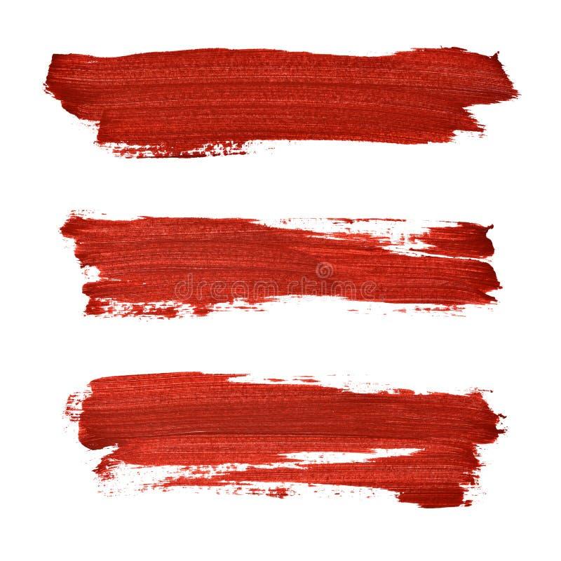 Muśnięć uderzenia czerwona akrylowa farba ilustracji