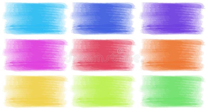 Muśnięć uderzenia w różnych kolorach ilustracji