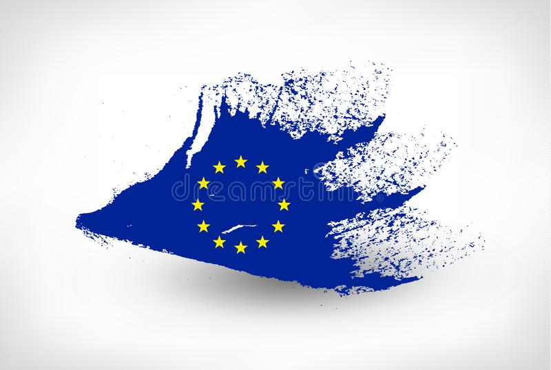 Muśnięcie malująca flaga Europejski zjednoczenie ilustracja wektor
