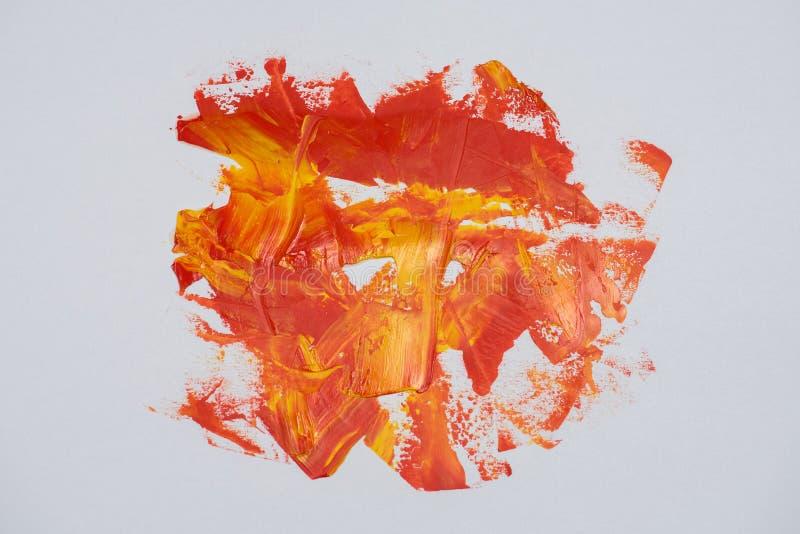 Muśnięcie muska nafcianej farby czerwień i kolor żółty barwi na białym backgro royalty ilustracja