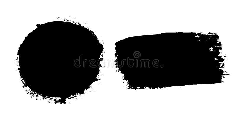 Muśnięcie muska set odizolowywającego białego tło Okrąg farby czarny muśnięcie Grunge tekstury round uderzenie Atramentu brudny p ilustracja wektor