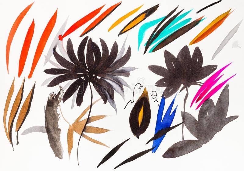 Muśnięcie uderzenie kształtująca chryzantema i liście royalty ilustracja