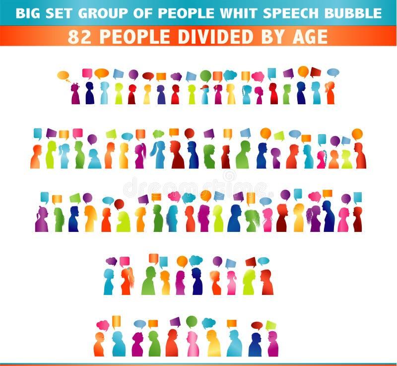 Απομονωμένη μεγάλη επικοινωνία ομάδας της ομιλίας ανθρώπων Λεκτική φυσαλίδα Επικοινωνήστε την κοινωνική δικτύωση Χρωματισμένη σκι διανυσματική απεικόνιση