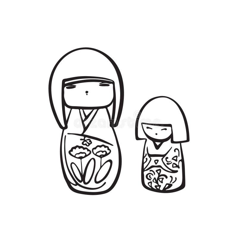 Mu?eca exhausta del kokeshi de la mano Dibujo de la tinta del negro del vector aislado en el fondo blanco Juguete de madera japon libre illustration