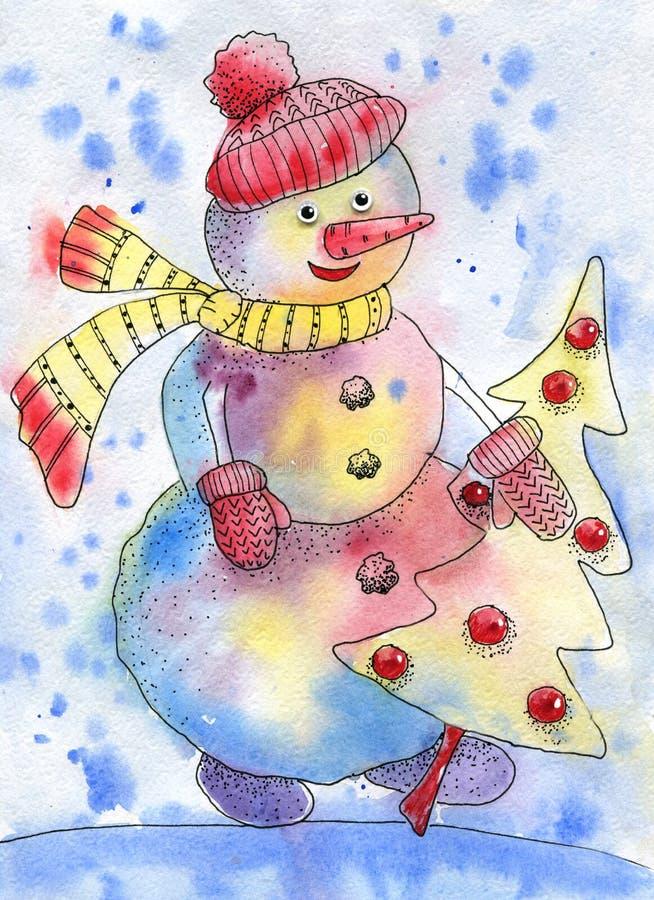Mu?eco de nieve con el ?rbol de navidad Dibujo de la acuarela para el diseño de tarjetas de Navidad del Año Nuevo y, saludos, inv libre illustration