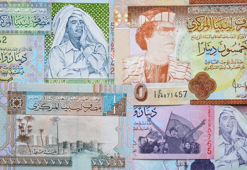 Muammar Gaddafi på den Libyen sedeln arkivfoto