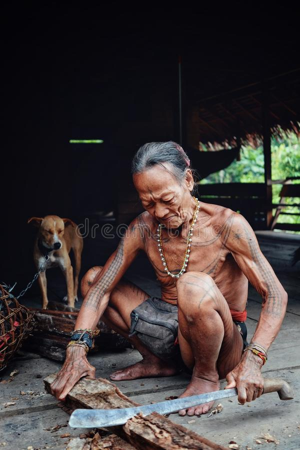 Tribal elder Toikot chopping some wood in his jungle home stock image