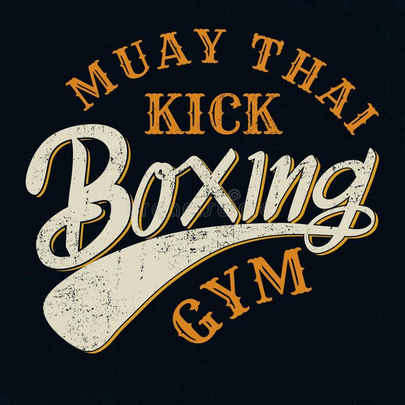 Muay het Thaise schop in dozen doen typograpic voor t-shirt, affiche, achtergrond, s royalty-vrije illustratie