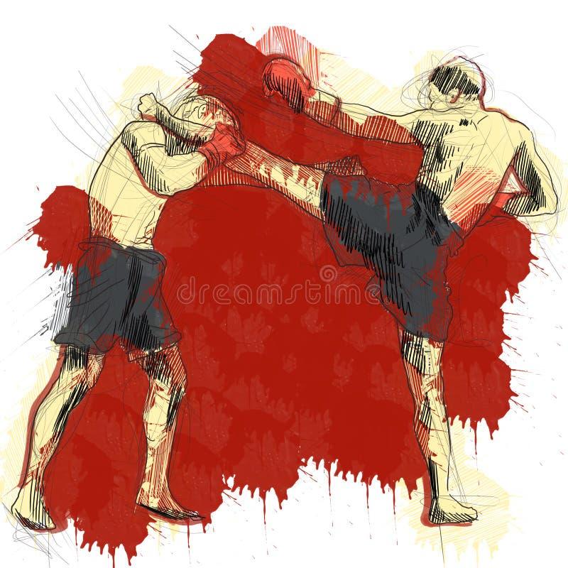 Muay, kickboxing ilustração do vetor